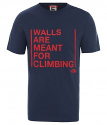Мъжка тениска M S/S WALLS ARE FOR CLIMBING TEE-EU BLUE WING TEAL