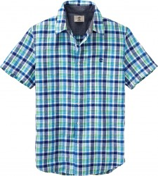 Мъжка риза SS LANE RVR LINEN PL ELECTRIC BLU